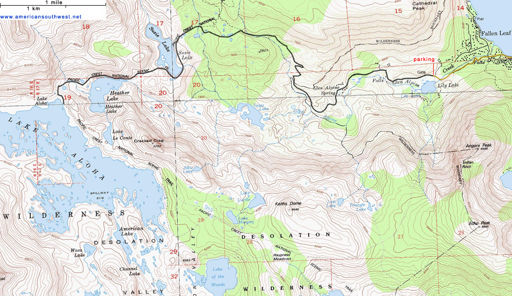 Map of the Glen Alpine Trail