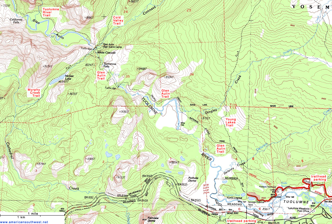 Topographic Map Of The Glen Aulin Trail Yosemite National Park