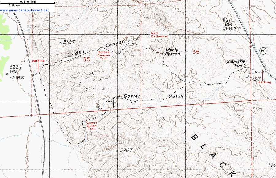 Map of the Golden Canyon/Gower Gulch Trails