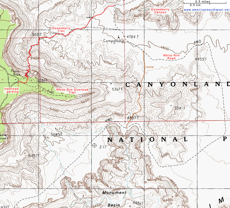 Topographic Map of the Gooseberry Trail and Monument Basin