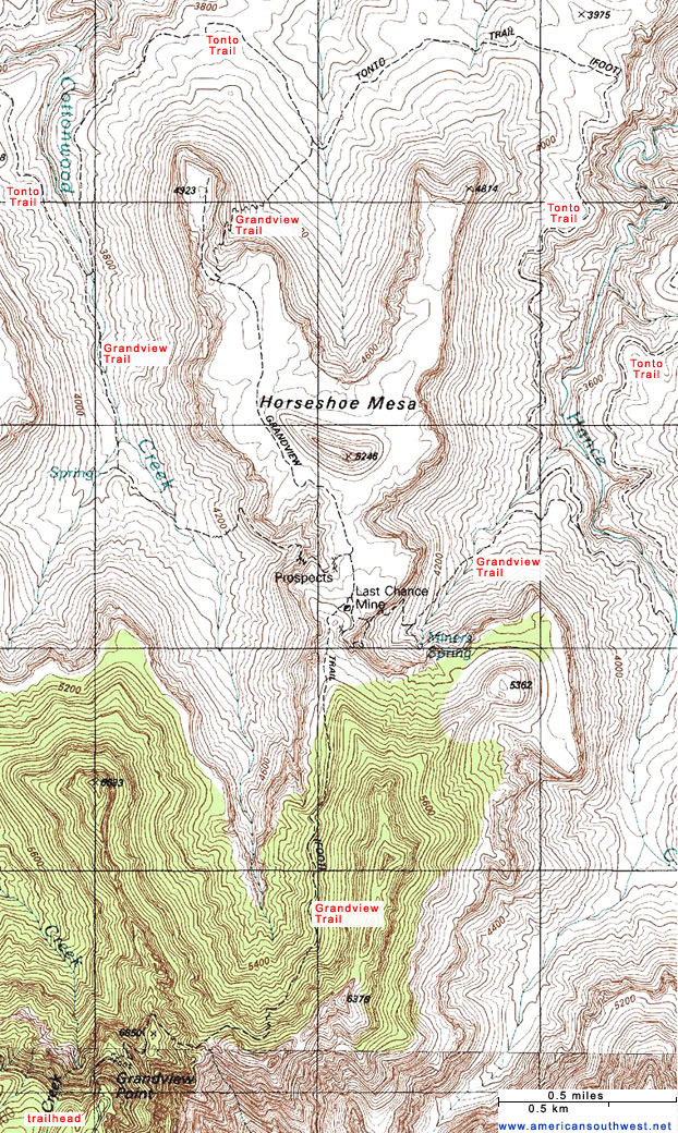 Topographic Map Of The Grandview Trail Grand Canyon