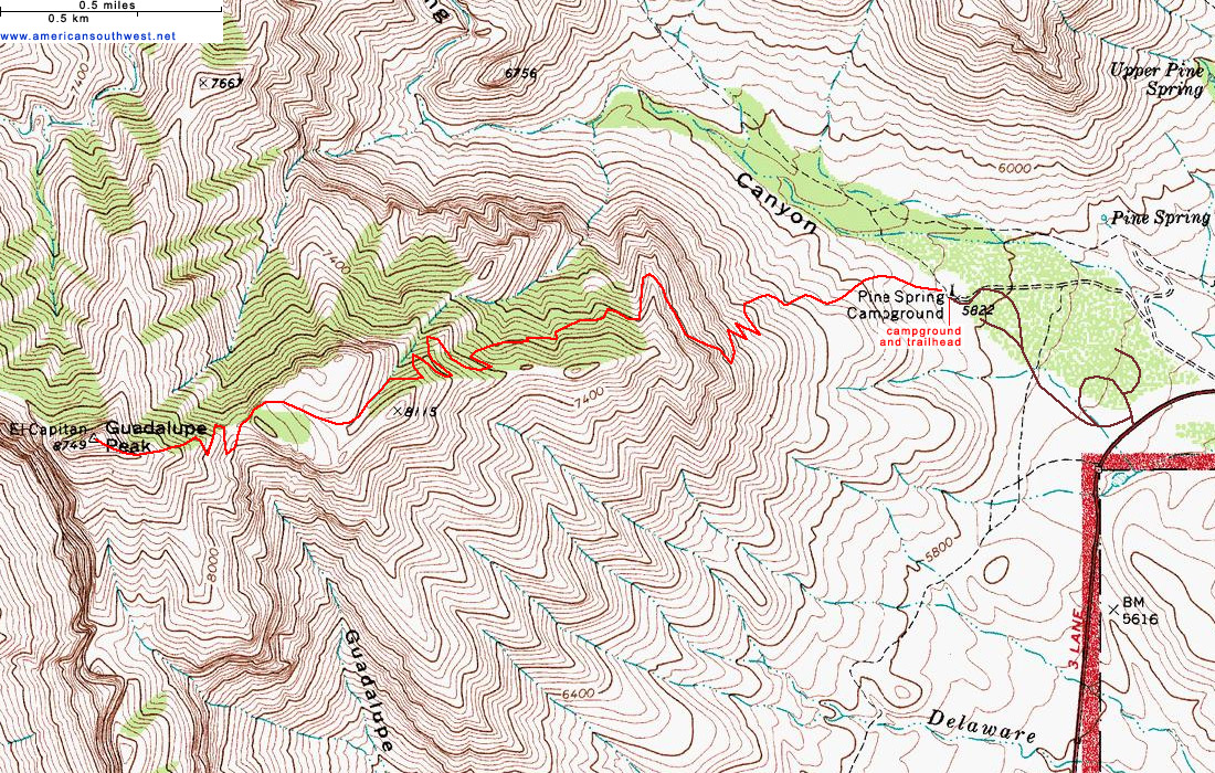 Map of the Guadalupe Peak Trail