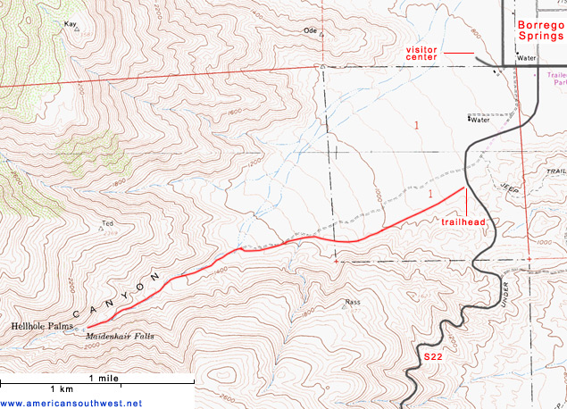 Topographic Map of the Hellhole Canyon Trail