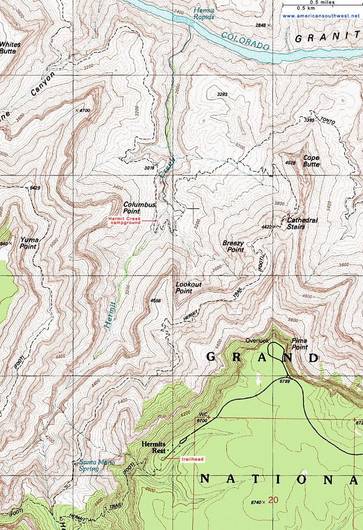 Topographic Map of the Hermit Trail, Grand Canyon National ...