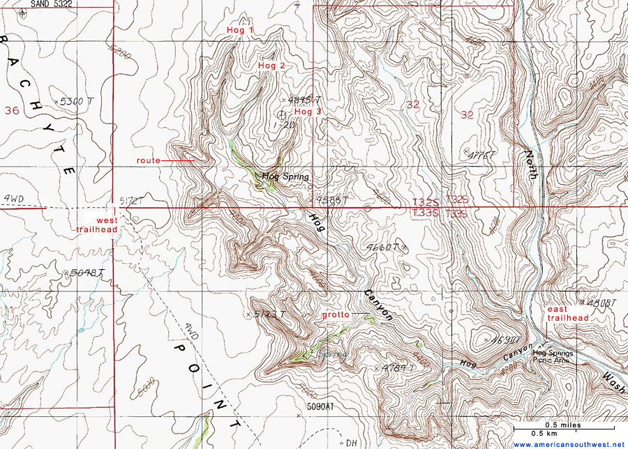 Topo Map of Hog Canyon