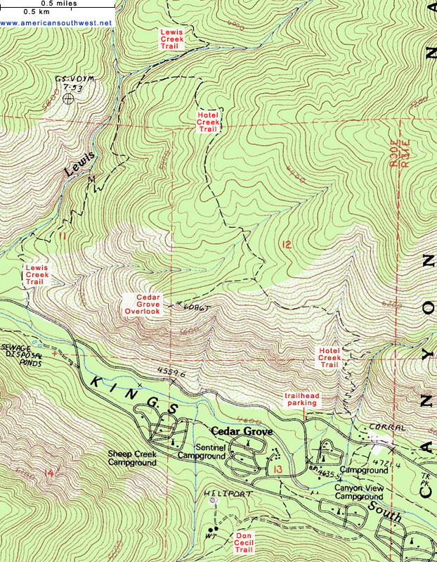 Topographic Map of the Hotel Creek Trail Kings Canyon National Park