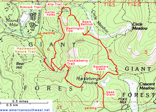 Topographic Map of the Huckleberry Trail