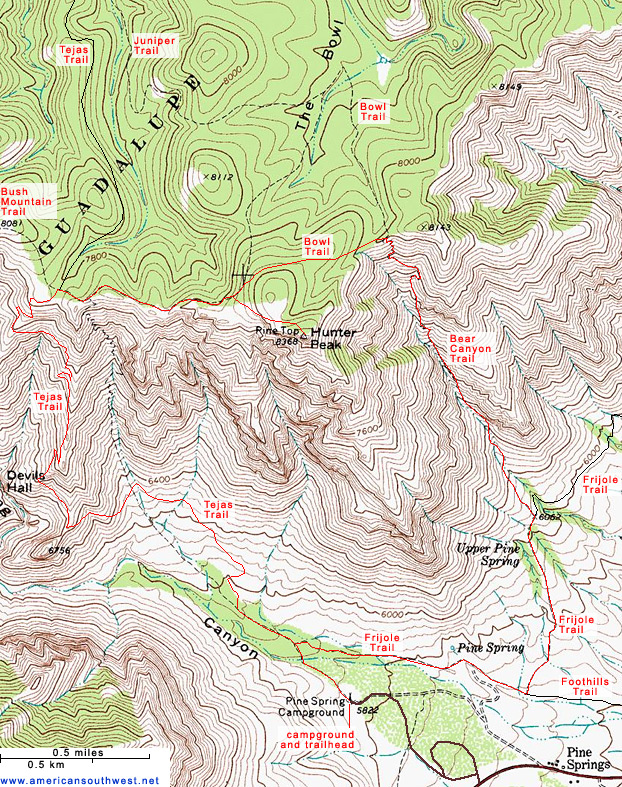 Topographic Map of the Trails to Hunter Peak, Guadalupe Mountains ...