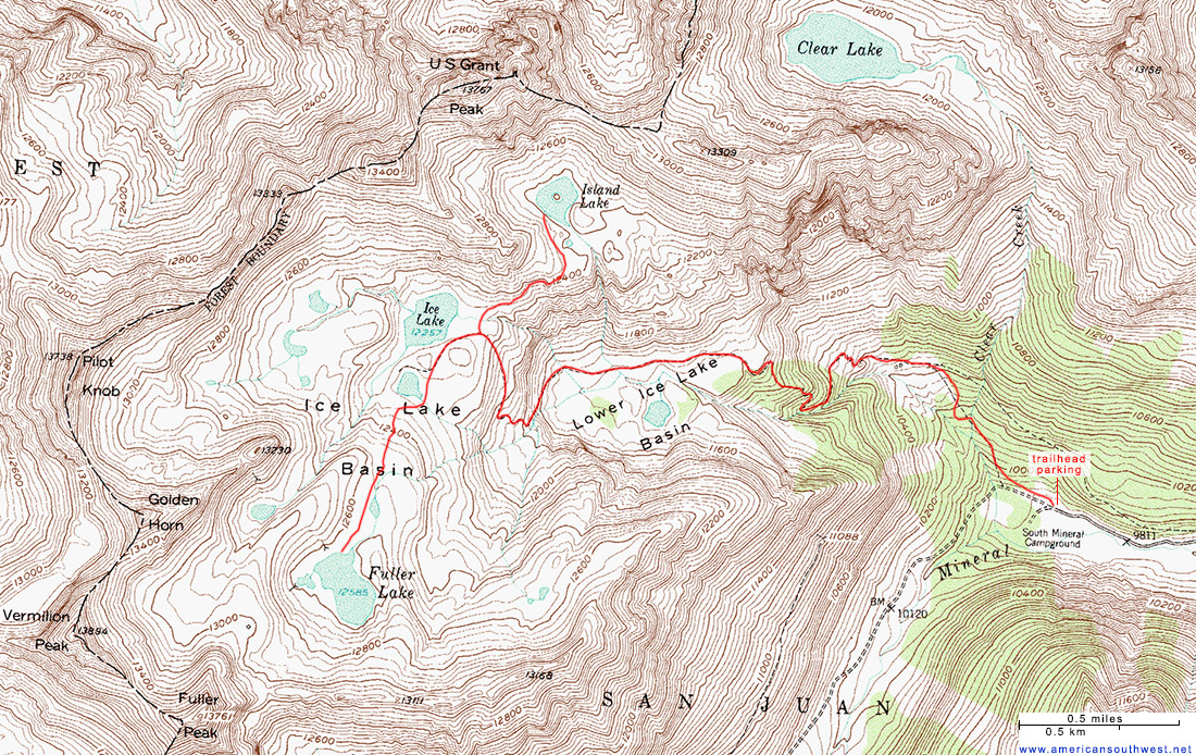 Topographic Map of Ice Lake Basin, San Juan Mountains, Colorado