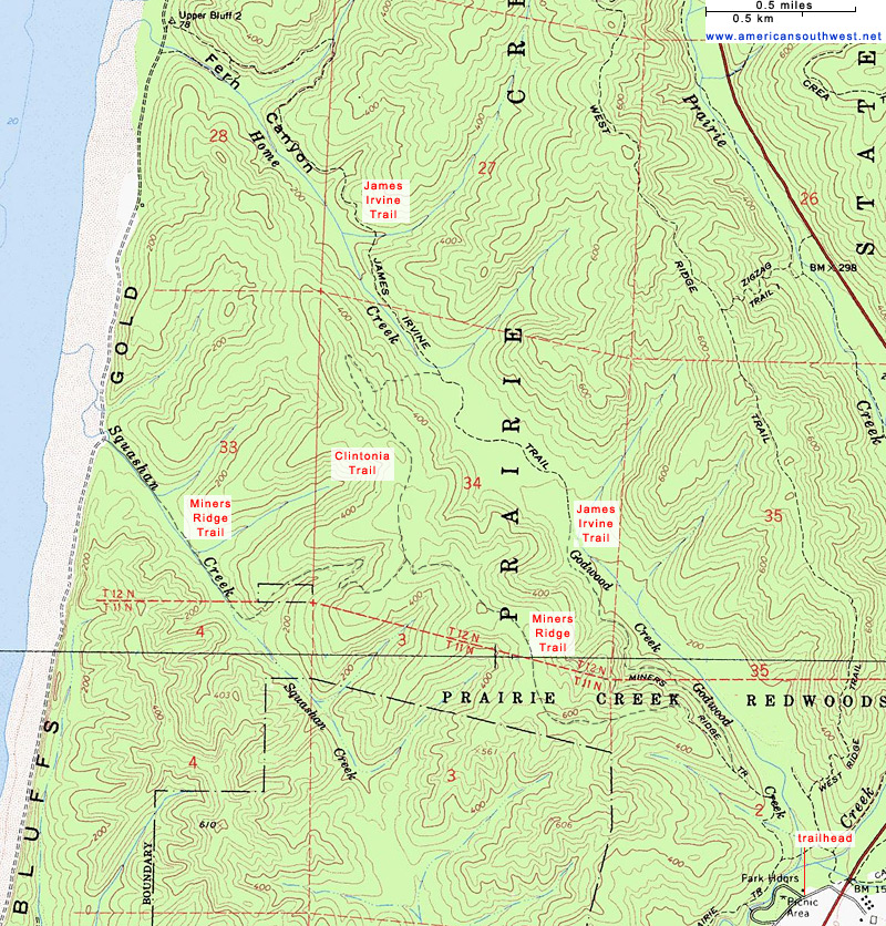 Map of the Miners Ridge and James Irvine Trails