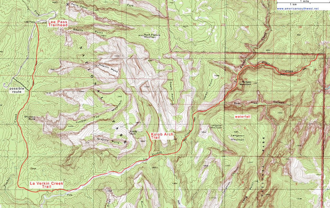 Map of the La Verkin Creek Trail, Zion National Park