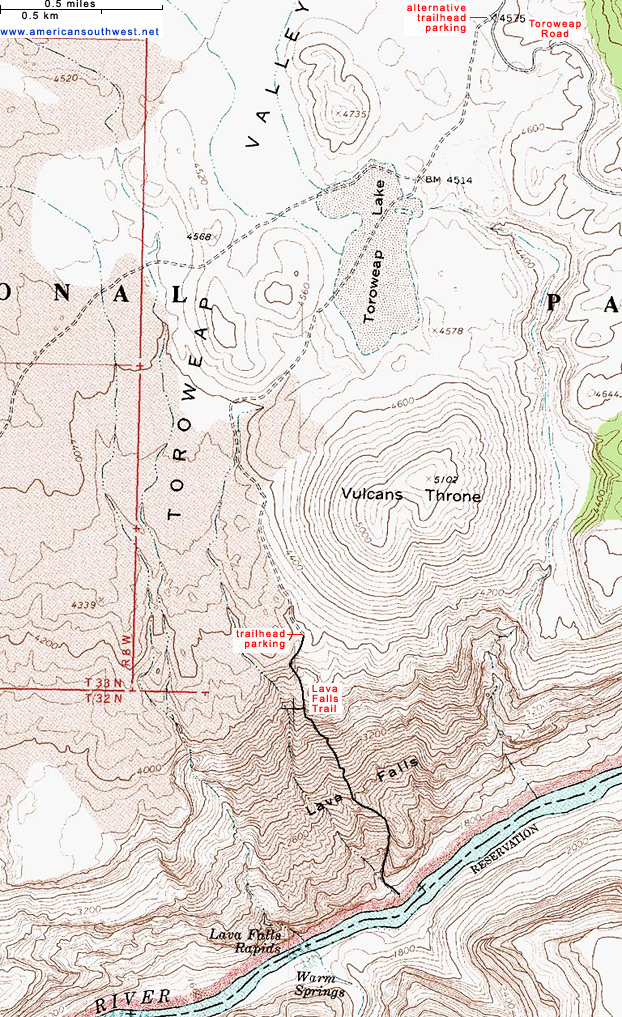Map of the Lava Falls Trail