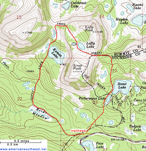 Map of the Lofty Lake Loop