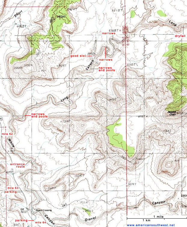 Map of lower Long Canyon