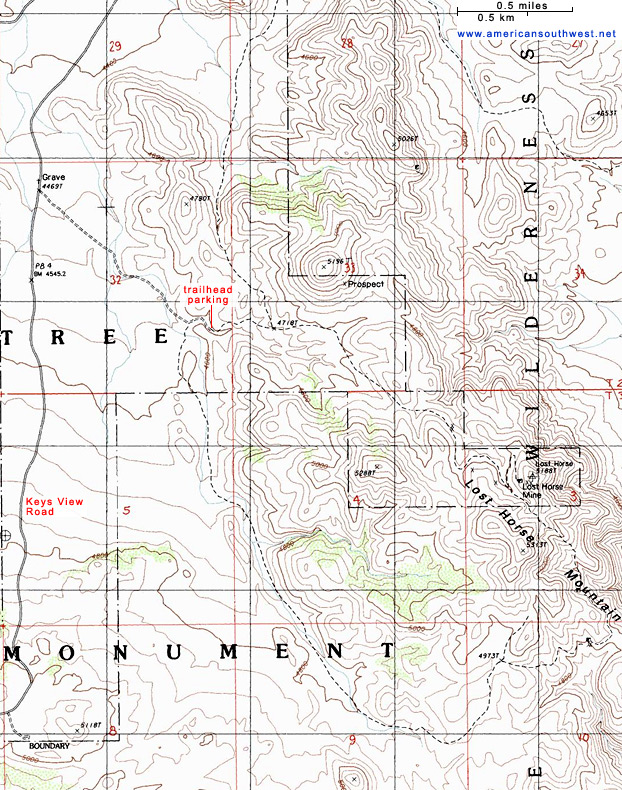 Topographic Map of the Lost Horse Mine Trail Joshua Tree National