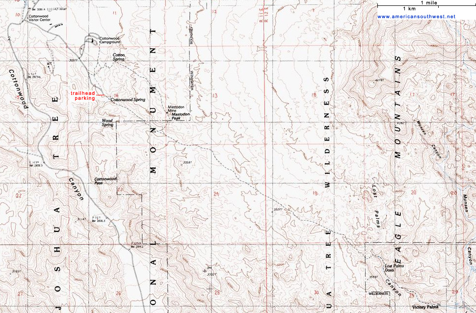 Joshua Tree Topographic Map.Topographic Map Of The Lost Palms Oasis Trail Joshua Tree National
