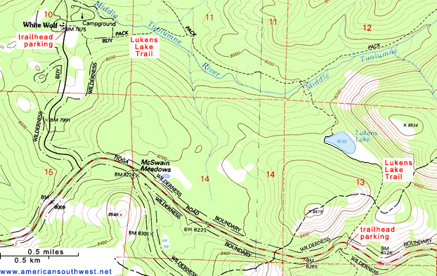 Topographic Map of the Lukens Lake Trail