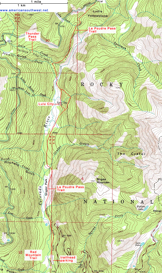 Topo Map of the La Poudre Pass Trail to Lulu City and the upper Colorado River