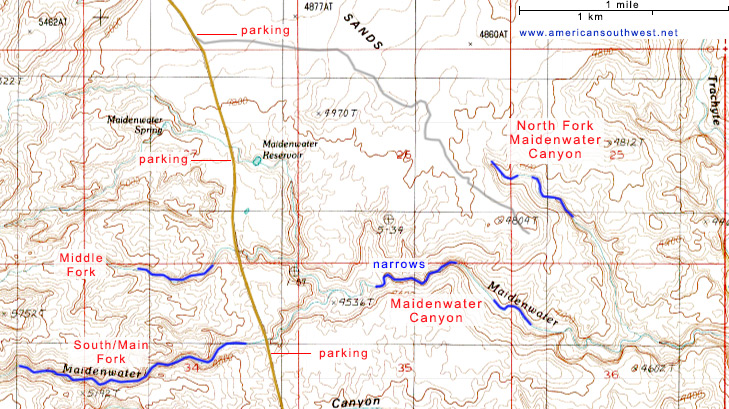 Topo map of Maidenwater Canyon