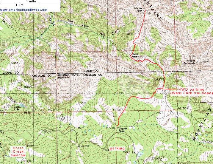 Topo map of the Manns Peak Trail