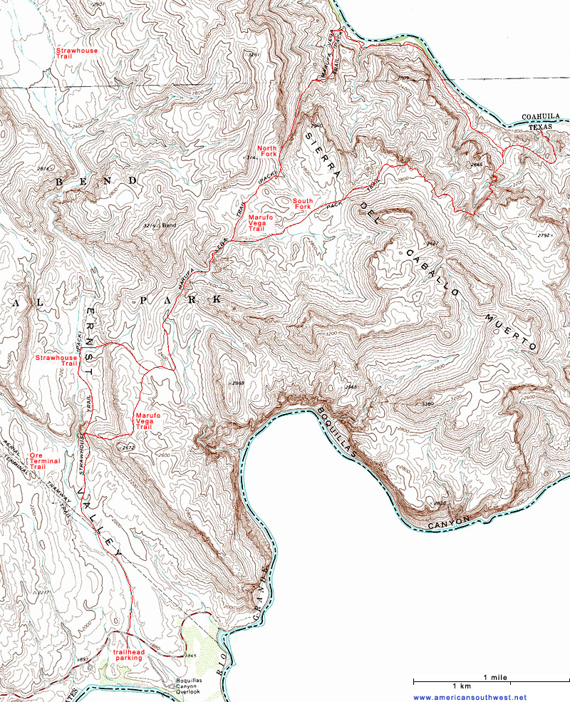 Topographic Map of the Marufo Vega Trail, Big Bend National ...