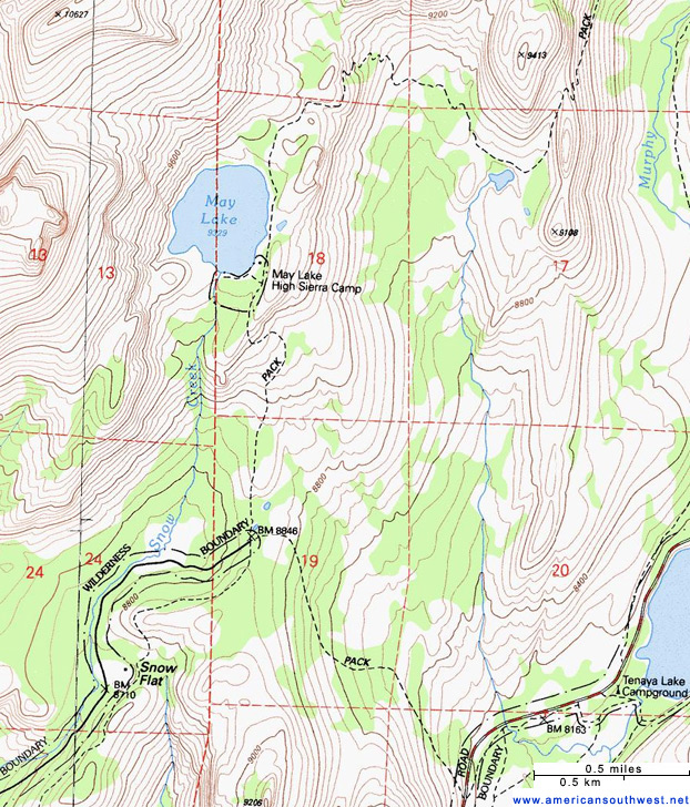 Topographic Map Of The May Lake Trail Yosemite National Park