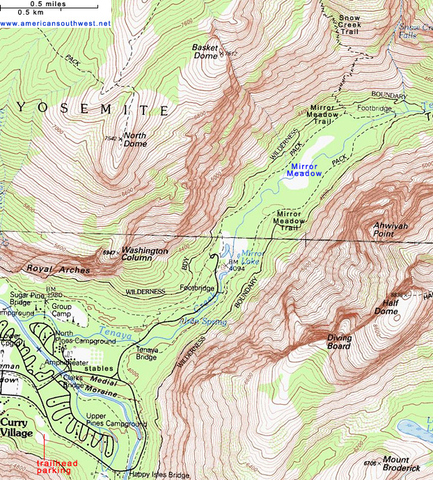 Topographic Map of the Mirror Lake Trail, Yosemite National Park ...
