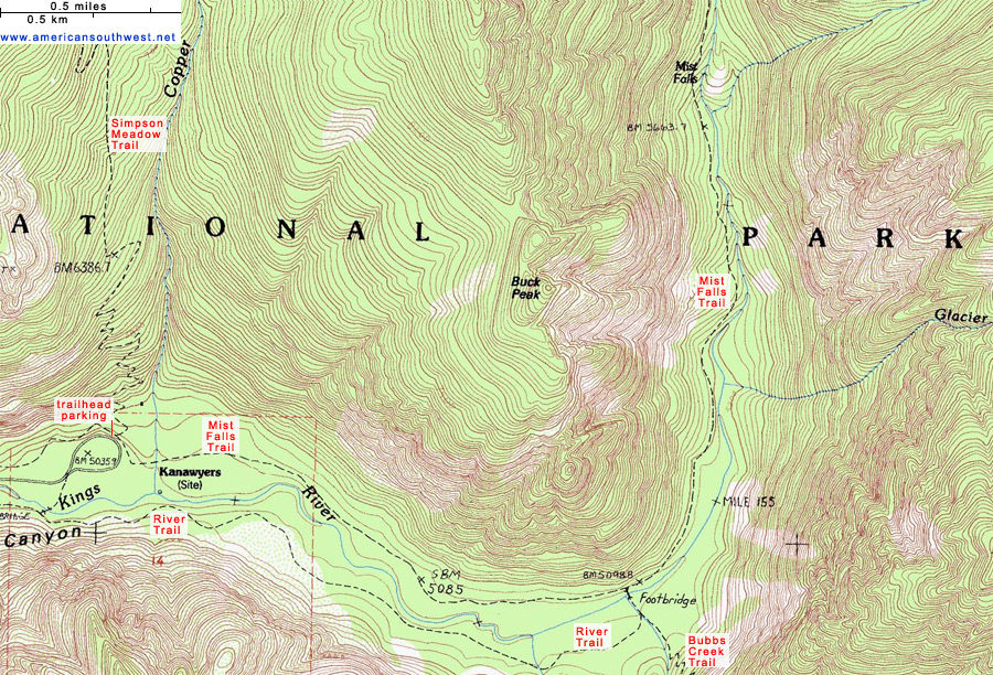Topographic Map of the Mist Falls Trail Kings Canyon National Park