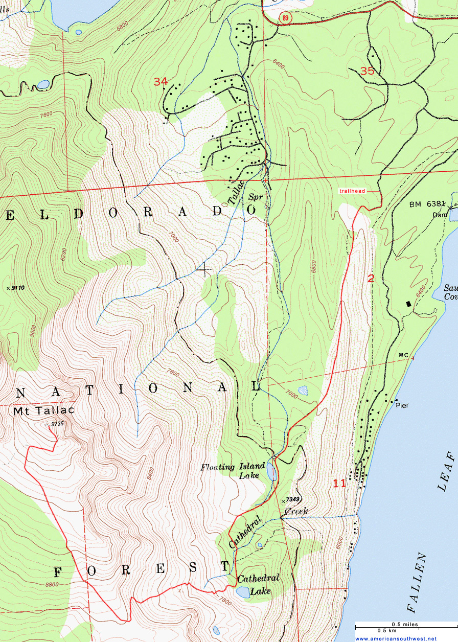Map of the Mount Tallac Trail