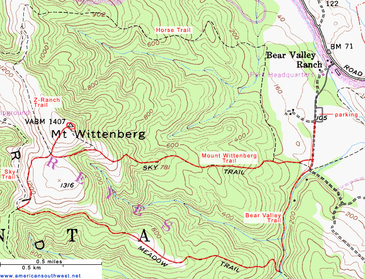 Map of the Mount Wittenberg and Meadow Trails