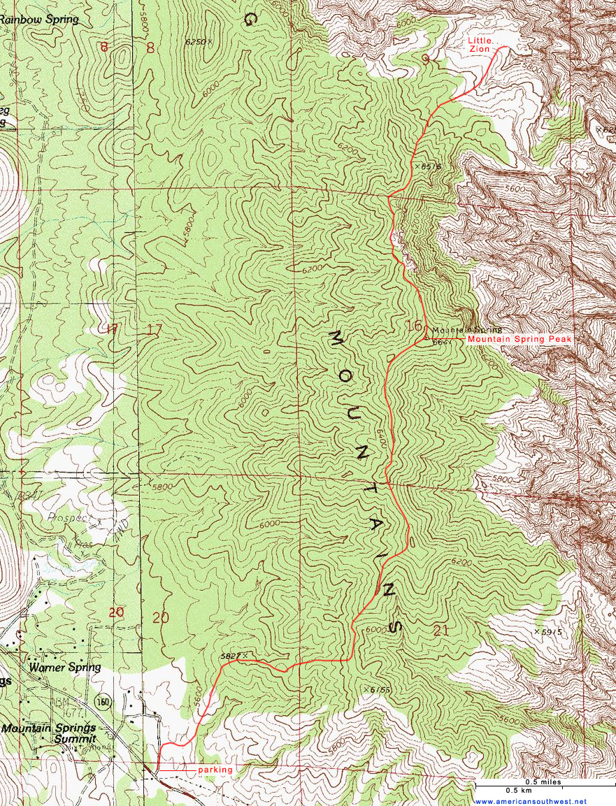 Topographic Map Of Nevada.Topographic Map Of Mountain Spring Peak And Little Zion Red Rock