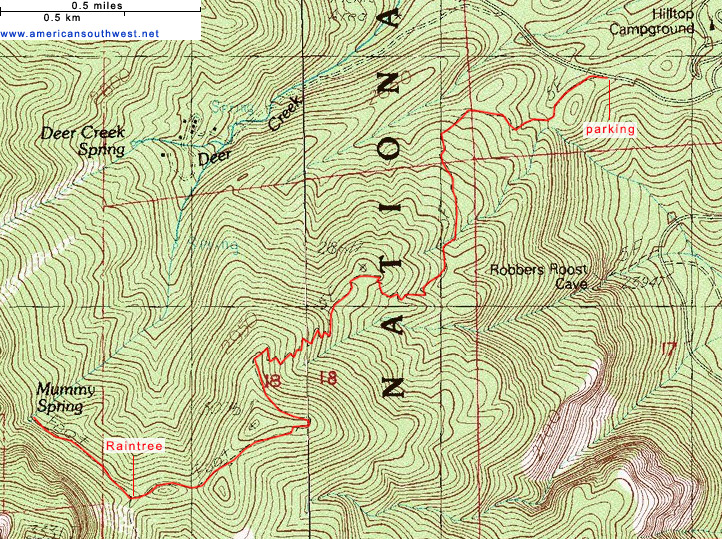 Topo map of the Mummy Spring Trail