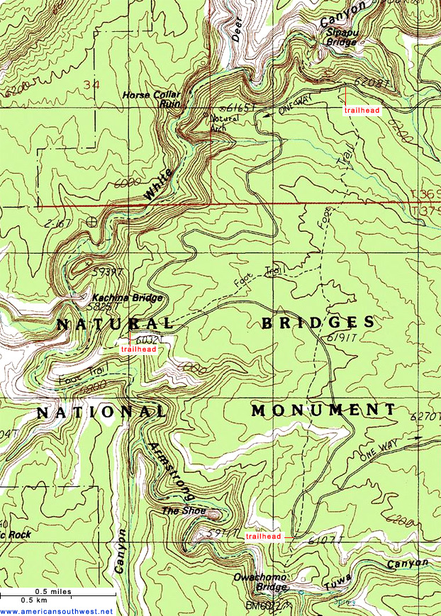 Topo Map of Natural Bridges National Monument