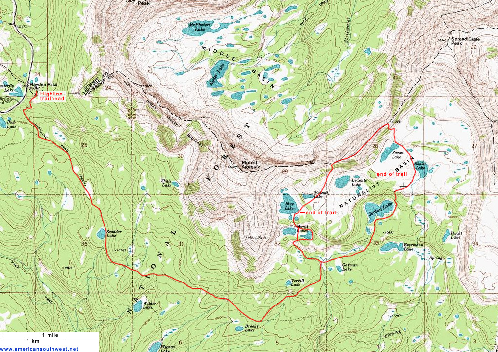 Topographic Map of Naturalist Basin, Uinta Mountains, Utah