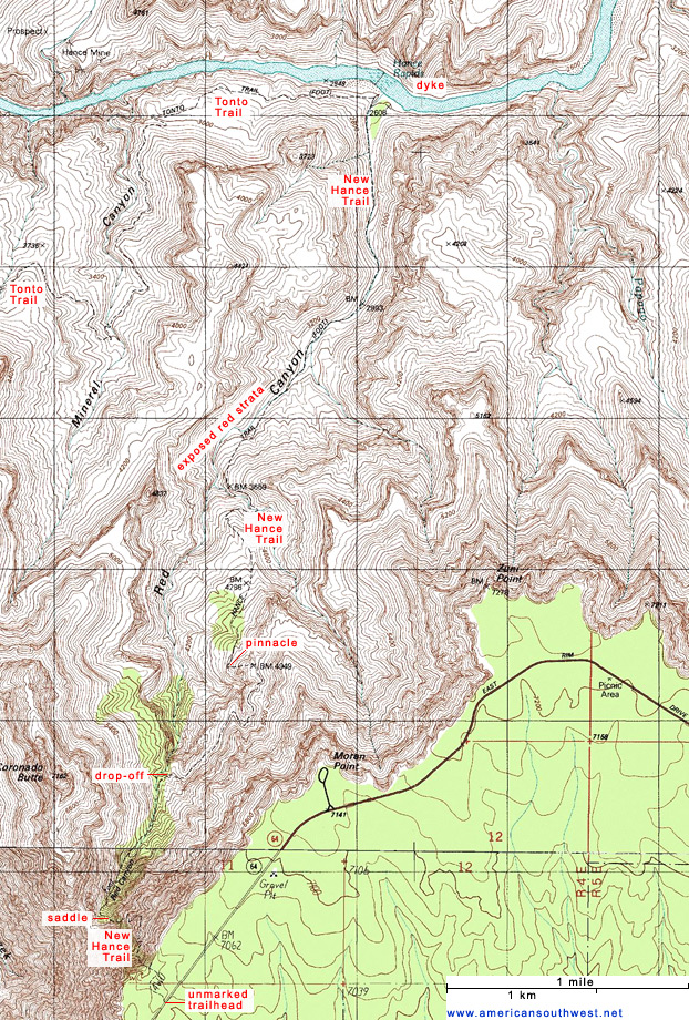 Map of the New Hance Trail