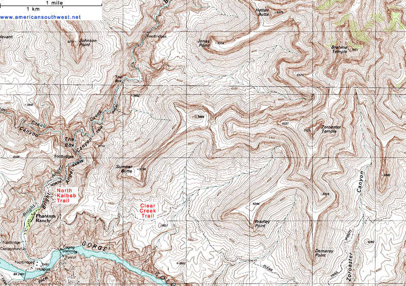 Topographic Map Grand Canyon.Topographic Map Of The North Kaibab Trail Grand Canyon National