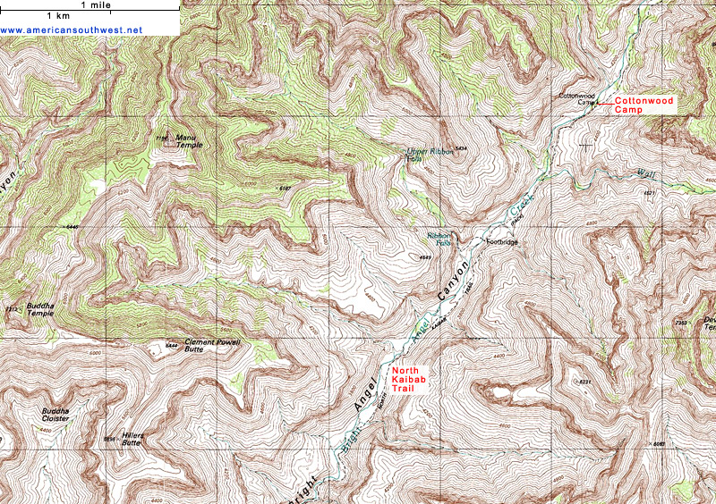 Topographic Map of the North Kaibab Trail Grand Canyon National