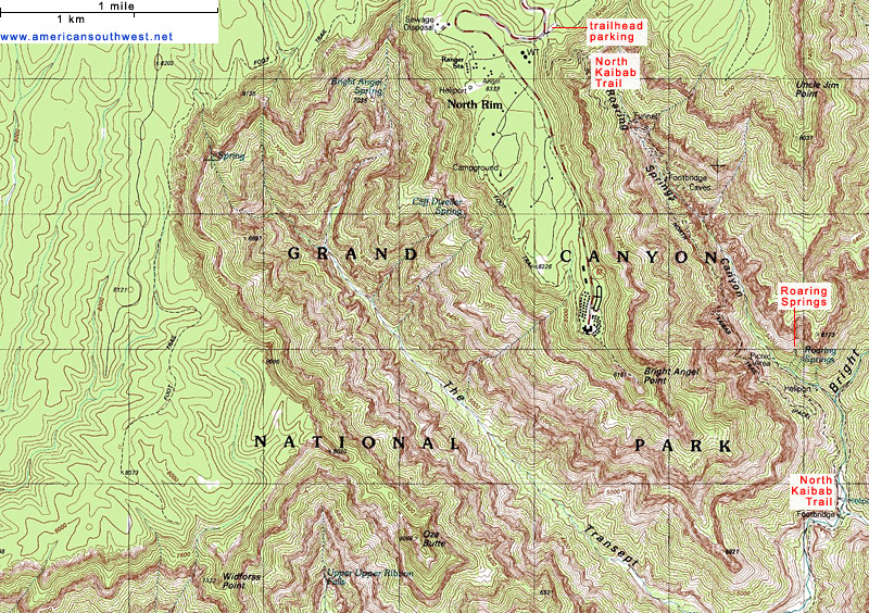 Topographic Map of the North Kaibab Trail, Grand Canyon National ...
