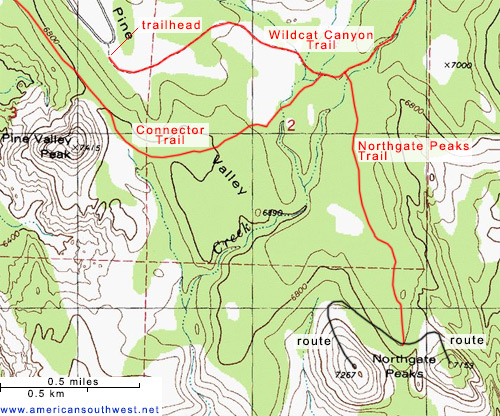 Map of the Northgate Peaks Trail