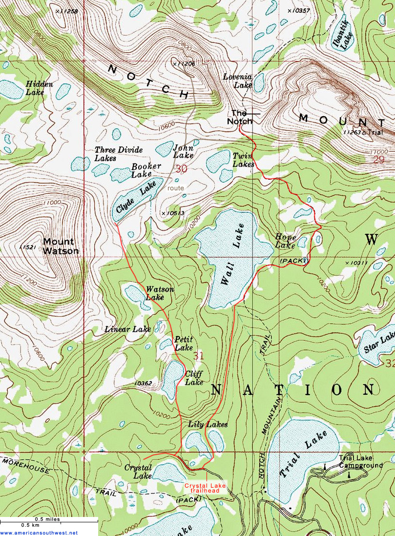 Topographic Map of the Notch Mountain Trail, Uinta Mountains, Utah