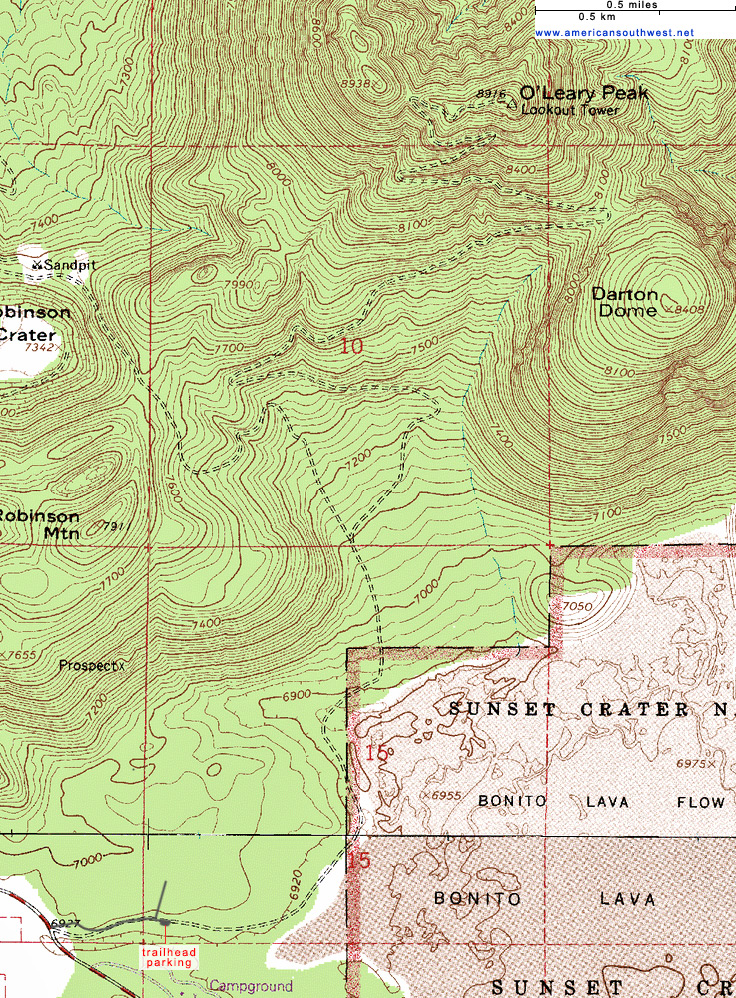 Map of the O'Leary Peak Trail