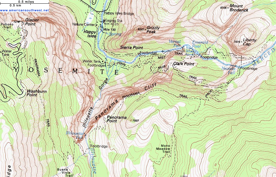 Topographic Map of the Panorama Trail, Yosemite National Park ...