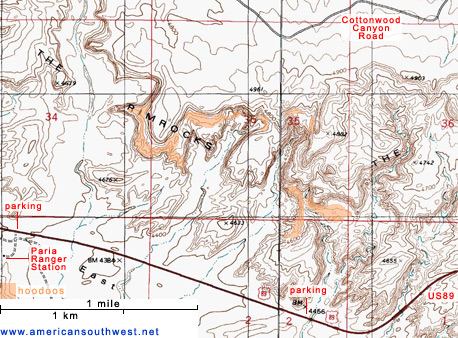 Map of Topographic Map of the Paria Rimrocks