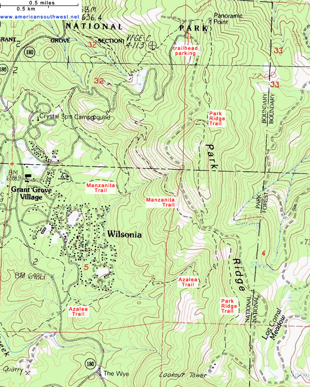 Topographic Map of the Park Ridge Trail Kings Canyon National Park