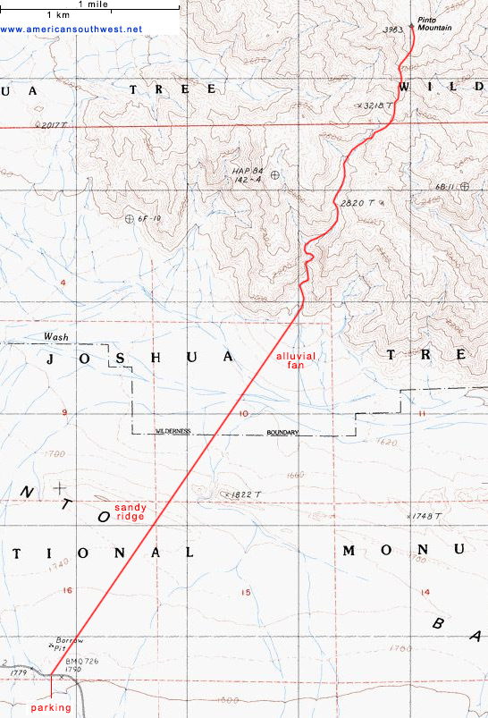 Topo map of Pinto Mountain