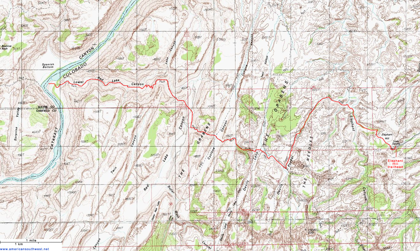 Topographic Map of the Red Lake Canyon Trail, Canyonlands ...