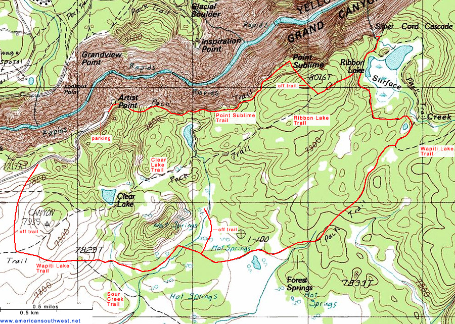 Topographic Map of the Ribbon Lake Trail, Yellowstone National Park ...