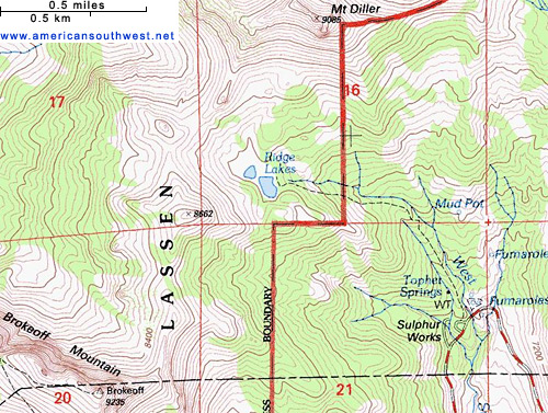 Topographic map of the Ridge Lakes Trail
