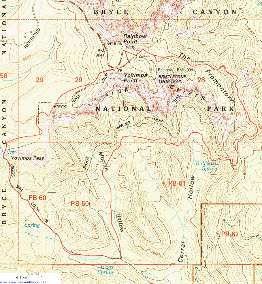 Topographic Map of the Riggs Spring Trail, Bryce Canyon, Utah