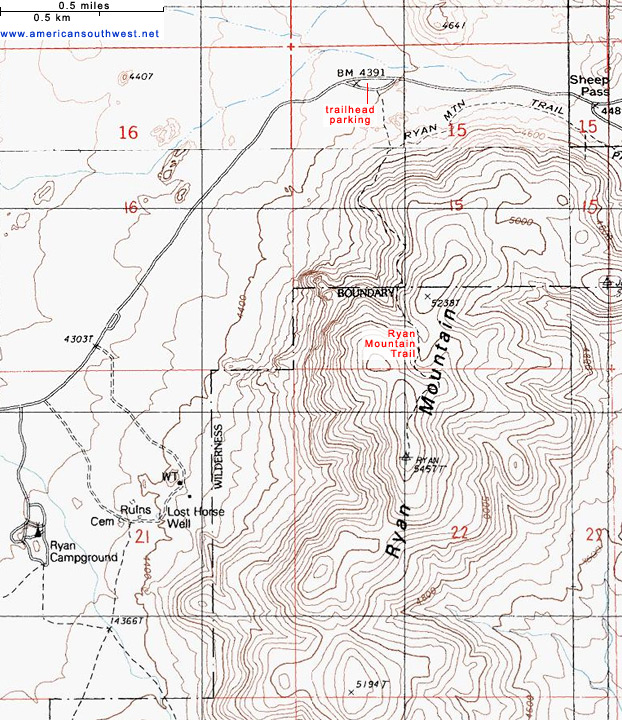 Topographic Map of the Ryan Mountain Trail, Joshua Tree National ...